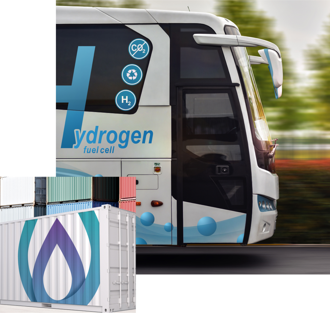 Hydrogen container and bus