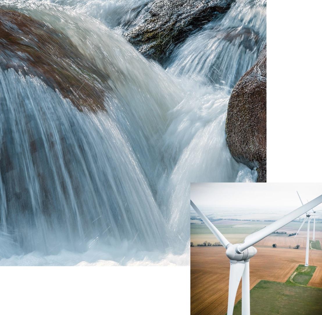 Waterfall and windmills